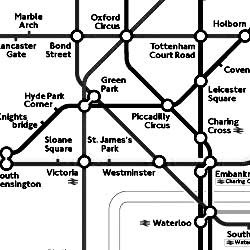 London Subway Map with no color - impossible to discern which line to take