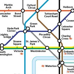London subway map with lines noted only with color