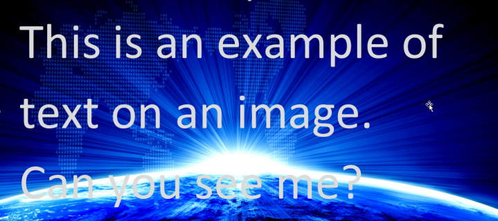 Image with text over it showing the color contrast issues and difficulty when Zooming