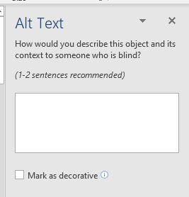 """Word 2019 Alt Text field with checkbox labeled """"Mark as decorative""""."""