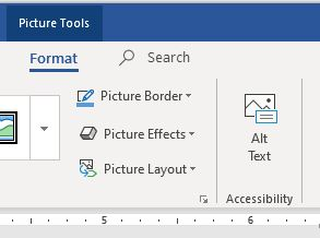 "Word 2019 Format tab as it appears when image selected. Button in Ribbon labeled ""Alt Text"" in ""Accessibility"" Group."