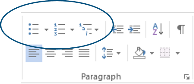 Word list formatting buttons in Paragraph group