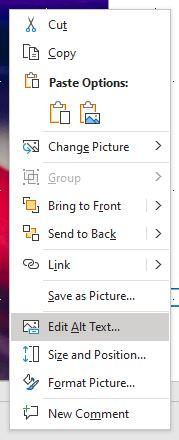 PowerPoint context menu, Edit Alt Text option highlighted.