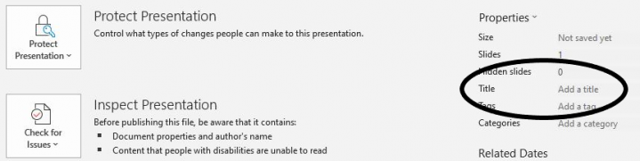 PowerPoint 2019 Home tab, Info section, Title field in Properties group.