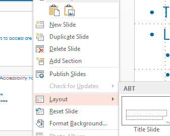 "Context menu with Layout option shown. Keyboard shortcut in menu is ""L""."