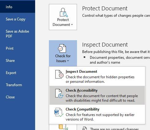 Microsoft Word 2019 Accessibility Checker kickoff
